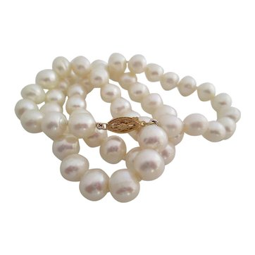 Ladies vintage 14kt white cultured pearls.
