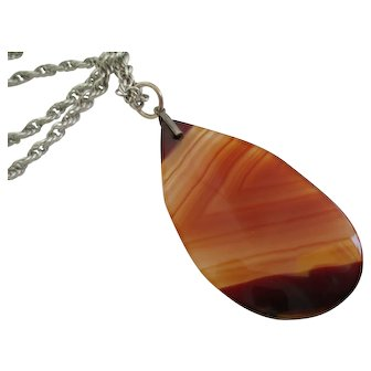 Ladies Victorian Scottish sterling agate pendant.