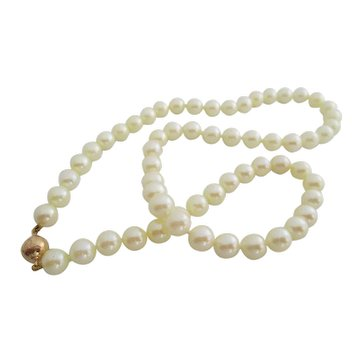 Ladies vintage 14kt yg Akoya cultured pearls.
