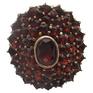Sterling with gold wash  Victorian garnet ring