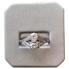 Vintage circa 1940'2 Diamond and Platinum Toi et Moi Dress Ring