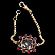 Antique 9 Karat Gold flat cut garnet shaker locket bracelet