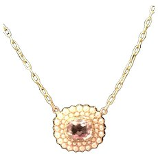 Rare Victorian 15K Gold Natural Pink Citrine with Double Natural Pearl Surround Necklace