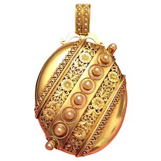 Very Fine Victorian 18K gold and Pearl Picture locket