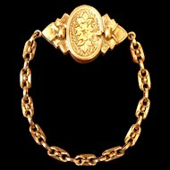 Victorian 9 K yellow gold fancy clasp bracelet