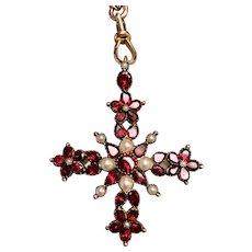 Georgian 9k yellow gold pearl and flat cut garnet Maltese Cross pendant