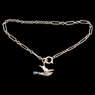 Victorian gold bracelet with rose cut diamond and enamel duck charm