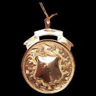 Art Deco 9K gold medal, fob, pendant