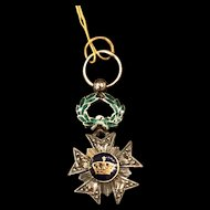 Antique Belgian Order of the Crown silver, gold enamel, and rose cut diamond medal