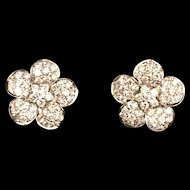Vintage Diamond Flower Earrings 18 karat white and yellow gold
