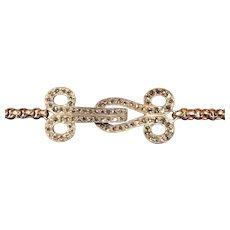 Victorian Diamond Silver Topped Gold Hook and Eye Bracelet