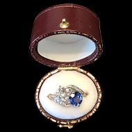 Vintage Diamond and Sapphire Toi et Moi Engagement or Anniversary white gold ring
