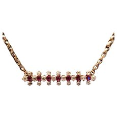 Victorian Diamond and Burmese Ruby Necklace