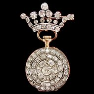 Antique Diamond 14k gold and 800 parts Silver Crowned Pocket Watch