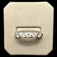 Vintage 14 Karat White Gold Diamond Five Stone Diamond Ring