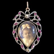 Georgian Ruby and Diamond Heart Shaped Crystal Locket