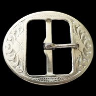Nickel Belt Buckle o l d Art Nouveau chasing