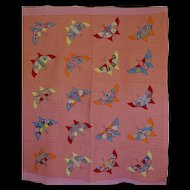 Quilt Feed Sack Butterfly Charm Quilt