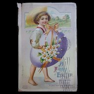 Easter Postcard Boy Carrying Egg