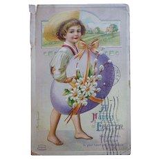 Easter Postcard Boy Carrying Egg