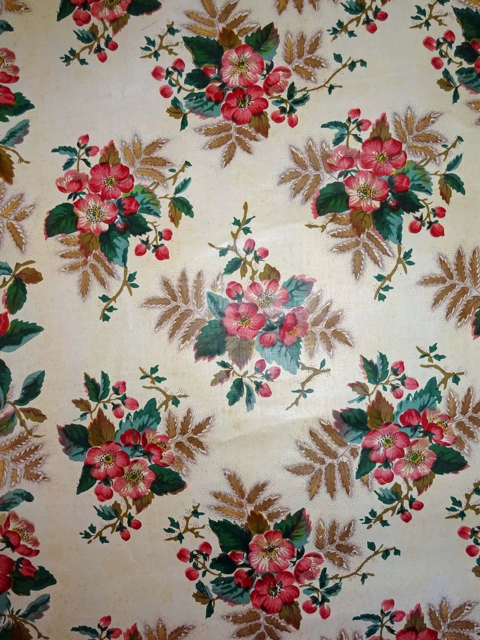 Old Glazed Chintz Fabric Border Cow Hollow Quilts