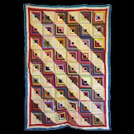 Beautiful Silk & Satin Log Cabin Quilt - c1880
