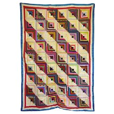 Beautiful Silk & Satin Log Cabin Quilt - c1880