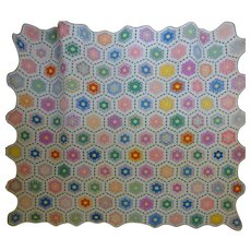 Quilt Grandmothers Flower Garden, Fussy cut with paths
