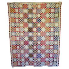 Quilt ~ c. 1900  25-patch - hand-pieced