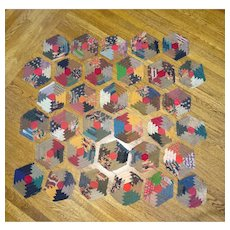 1800's Hexagon Quilt Blocks - Lindsey Woolsey  59 pieces