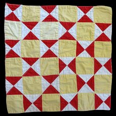Old Doll Quilt, Small Scale Turkey, Chamois & White  c. 1900