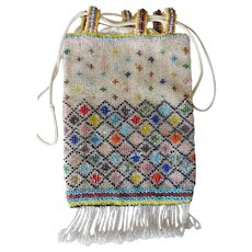 Beaded Bag- draw-string- 20's Flapper style