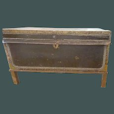 China Trade Export Leather Camphor Wood Trunk on stand c. 1835