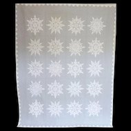 "Quilt Applique Snow Flakes c. 1940 Unused 74"" x 92"""