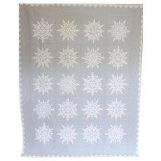 """Quilt Applique Snow Flakes c. 1940 Unused 74"""" x 92"""""""