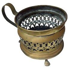 Old Brass Planter --pierced metal design -