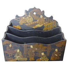 19th c. Chinese Paper Mache Wall Pocket