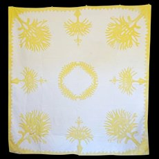 Old Hawaiian Quilt- Appliqued & Detailed c. 1930-40 - Red Tag Sale Item