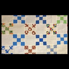 """9-Patch Quilt Top-Feedsacks, 1"""" stamps - 3"""" blocks"""