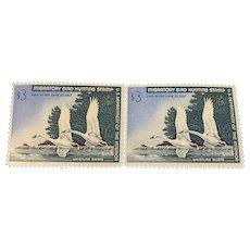 Migratory Bird Hunting Stamp PAIR Whistling Swans June 30, 1967 Unused