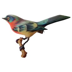 Bird Brooch- Japanese Internment Camp Carved and painted Wooden Bird c. 1940's
