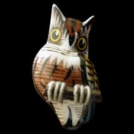 OWL Bird Brooch--Miniature hand-carved- Takahashi internment camp folkart