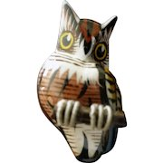 OWL Bird Brooch--Miniature hand-carved- Takahashi internment camp folkart