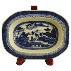 Antique Canton Blue and White Sm Serving dish
