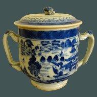 Antique Canton Export blue and White tall Pot de Creme c. 1860