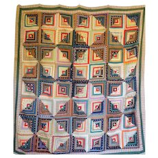 c1850 Log Cabin Quilt Gorgeous Challis Courthouse Steps - Red Tag Sale Item