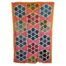 1800's Quilt TOP--7-Sisters --mint and Stunning - Red Tag Sale Item