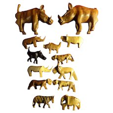 African Carved wooden animals 13 of them...folk art