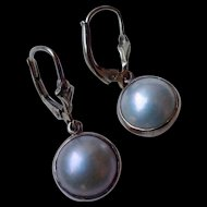 Mabe Pearl Dangle Earrings - Cultured pearls