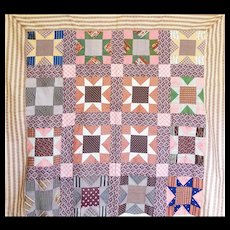 1800's Quilt TOP Variable Star- great old prints Unused